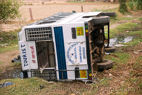 overturned tourist bus (india), accident, crash, ditch, road, rollover, traffic accident, wreck