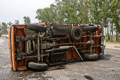 overturned truck - eicher motors (india), crash, eicher motors, lorry, overturned truck, road, rollover, traffic accident, truck accident, underbelly, wreck