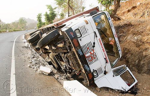 overturned truck (india), crash, ditch, india, lorry, overturned, road, rollover, tata motors, traffic accident, truck accident, wreck