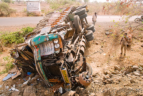 overturned truck (india), cabin, crash, crushed, frontal collision, india, lorry, overturned truck, road, rollover, tata motors, traffic accident, truck accident, underbelly, wreck