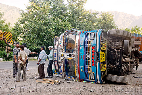 overturned truck - kashmir, india, kashmir, lorry, overturned truck, road, rollover, tata motors, traffic accident, truck accident