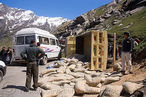 overturned truck - rohtang pass - manali to leh road (india), crash, lorry, overturned truck, road, rohtang pass, rohtangla, rollover, sand bags, tata motors, traffic accident, truck accident, wreck