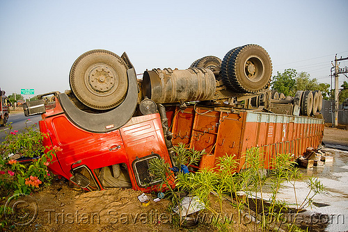 overturned truck - semi truck accident - (india), artic, articulated lorry, big rig, cab, cabin, crash, crushed, road, rollover, semi-trailer, tata, tata motors, tractor trailer, traffic accident, up side down, wreck