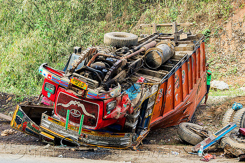 overturned truck - traffic accident (india), cab, cabin, crash, crushed, ditch, lorry, road, rollover, tata, tata motors, truck accident, underbelly, up-side-down, wreck