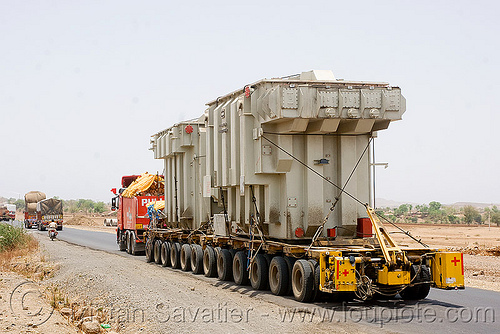 overweight load - industrial electrical transformers transiting by road - (india), aqua logistics, artic, articulated lorry, electric, equipment, heavy load, india, overweight load, road, semi truck, semi-trailer, tractor trailer, transformers