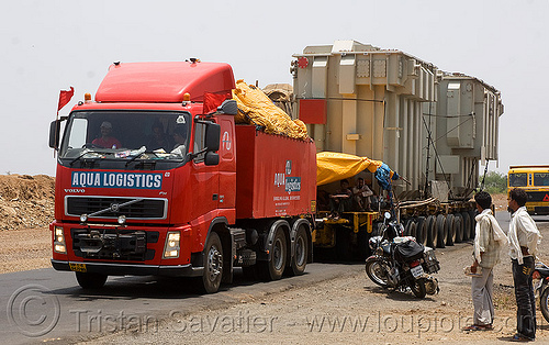 overweight load - industrial electrical transformers transiting by road - (india), aqua logistics, artic, articulated lorry, big rig, electric, equipment, heavy load, infrastructure, overweight load, road, semi truck, semi-trailer, tractor trailer, transformers