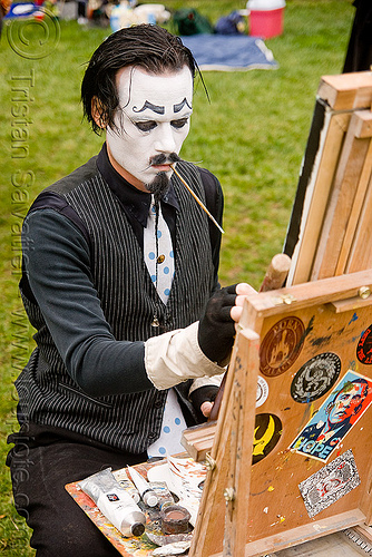 painter - lee harvey roswell - burning man decompression 2009 (san francisco), canvas, face painting, facepaint, makeup, people