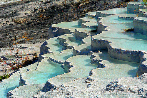 pamukkale hot springs travertine terraces (turkey), blue, concretions, gours, hot springs, pamukkale, pools, rimstone dams, travertine, tufa