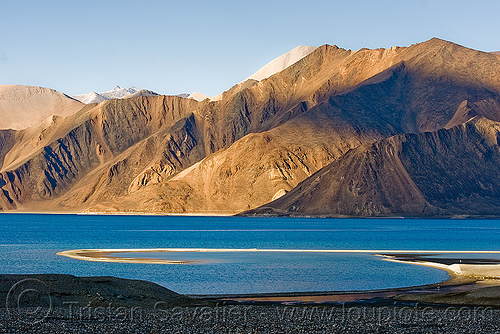 pangong lake - ladakh (india), ladakh, mountains, pangong lake, pangong tso, spangmik, water