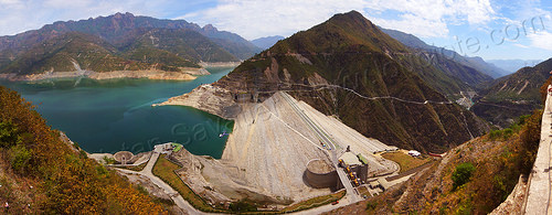panorama of the tehri dam (india), artificial lake, bhagirathi river, bhagirathi valley, hydro electric, infrastructure, mountains, reservoir, tehri dam, tehri lake, water