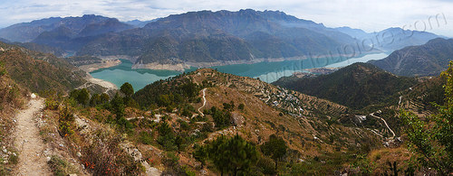 panorama of the tehri reservoir in the bhagirathi valley (india), articicial lake, artificial lake, bhagirathi river, bhagirathi valley, hills, india, mountains, reservoir, tehri lake