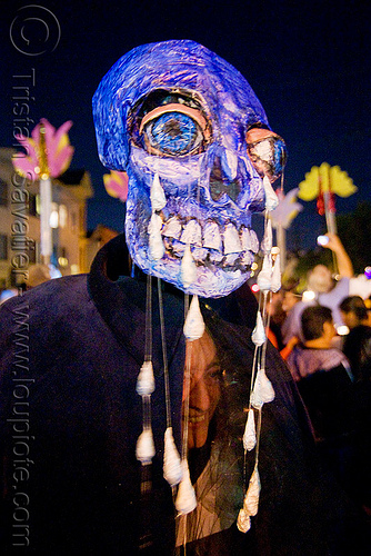 papier-mâché skull - giant puppet - dia de los muertos - halloween (san francisco), blue, day of the dead, dia de los muertos, halloween, mask, night, paint, paper mache, papier-mache, papier-mâché, tears