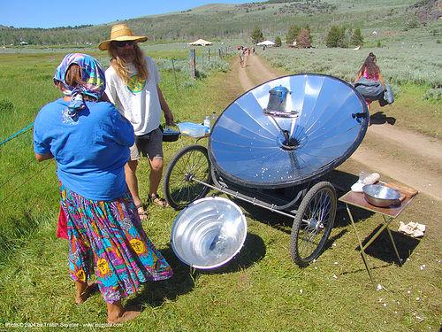 parabolic solar stove, hippie, parabolic mirror, parabolic reflector, rainbow family, solar energy
