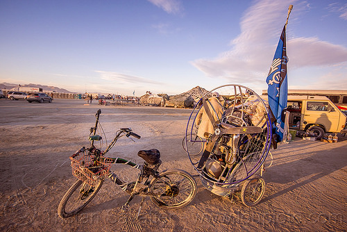 paramotor - burning man 2015, bicycle trailer, bike, brad gunnuscio, burning man, paramotor, paramotoring, powered paraglider, powered paragliding