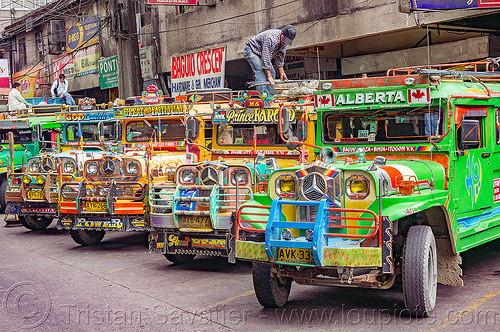 parked jeepneys (philippines), baguio, colorful, decorated, jeepney, painted, philippines, road, truck