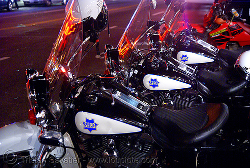 police motorcycles - SFPD  (san francisco), cops, harley-davidson, law enforcement, motor cop, motor officer, motorbikes, motorcycle police, motorcycle unit, motorcycles, night, parked, san francisco police department, sfpd, street