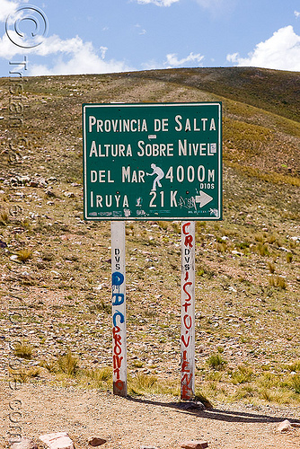 pass on the road to iruya (argentina), 4000 meter, 4000m, elevation, iruya, noroeste argentino, pass, quebrada de humahuaca, road sign, salta, traffic sign