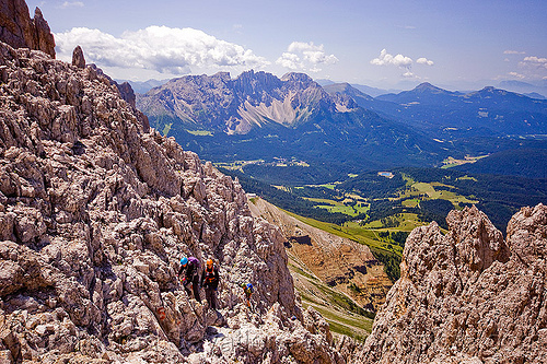 passo santner - dolomites, alps, climbers, climbing, dolomiti, ferrata, ferrata santner, mountain climbing, mountaineer, mountaineering, mountains, people, rock climbing, via ferrata, via ferrata del passo santner
