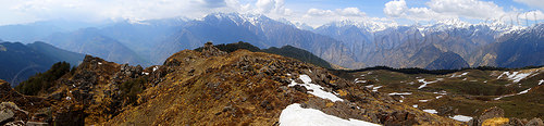 pastures and himalaya mountains panorama near joshimath (india), india, mountains, panorama, pastures, snow patches