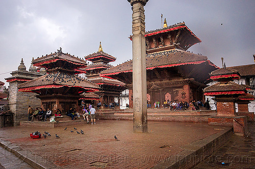 patan durbar square (nepal), column, hindu temple, hinduism, people, temples