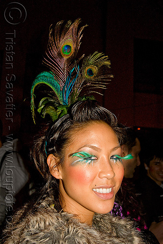 peacock feathers headdress - jane - ghostship halloween party on treasure island (san francisco), costume, eyelashes, ghostship 2009, halloween, jane, party, peacock feathers, woman