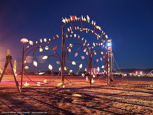 the pearly gates by rodman miller - burning-man 2004, art installation, night, rodman miller, the pearly gates
