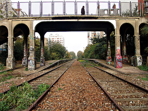 pedestrian bridge - petite ceinture - abandoned railway (paris, france), abandoned, bridge, graffiti, paris, petite ceinture, railroad tracks, rails, railway tracks, trespassing, urban exploration