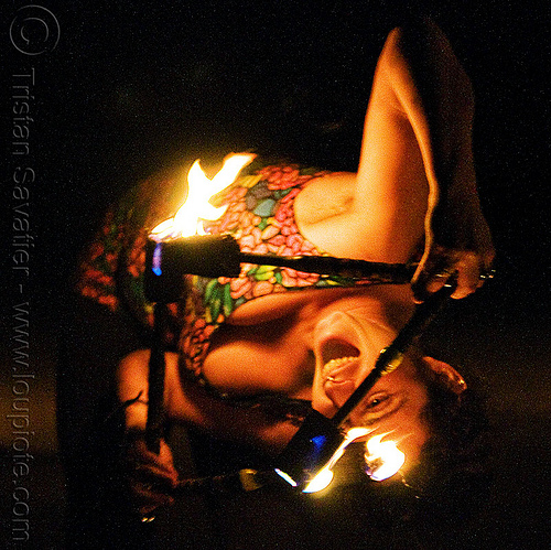 peekaboo! - fire nunchaku, fire dancer, fire dancing, fire nunchaku, fire performer, fire spinning, flames, night, peekaboo, sarah, woman
