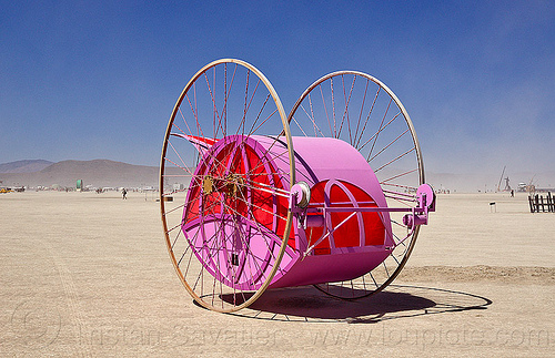 pendulum art car - burning man 2012, pendulum, pink, unidentified art car