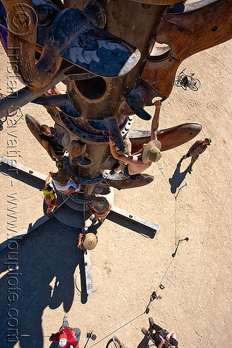 people climbing the tower - burning man 2010, bryan tedrick, burning man, climbing, the minaret, tower