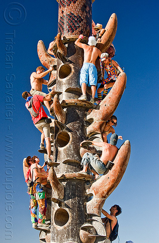 people climbing the tower, burning man, climbing, crowd, the minaret