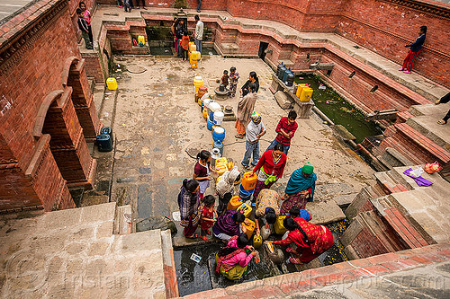 people filling jerrycans at old water fountain in kathmandu (nepal), filling, fountain, jerrycans, kathmandu