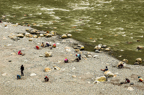 people gold panning on teesta river bank (india), geology, india, mineral, mining, river bank, teesta river, tista river, west bengal