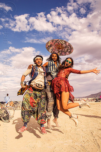 people jumping - burning man 2016, burning man, danielle, jump shot, men, umbrella, woman