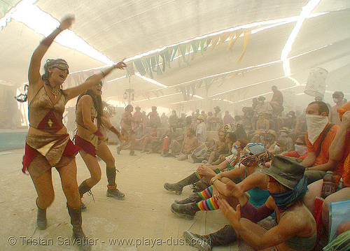 performance during the dust storm in center camp - burning man 2007, burning man, center camp, dust storm, playa dust, whiteout