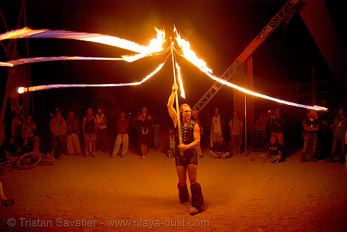 performer spinning fire ropes - burning man 2007, burning man, fire dancer, fire dancing, fire performer, fire rope, fire spinning, night, spinning fire