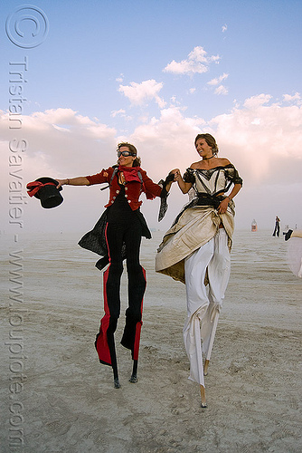 performers on stilts - anne and angela - burning man 2009, angela, anne, burning man, circus metropolus, stilts, stiltwalkers, stiltwalking