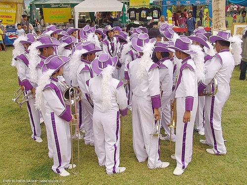 ปราสาทหินพนมรุ้ง - phanom rung festival - thailand, hats, marching band, people, phanom rung festival, purple, uniform, ประเทศไทย, ปราสาทหินพนมรุ้ง