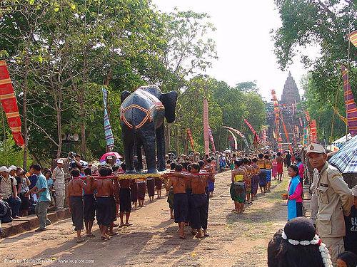 ปราสาทหินพนมรุ้ง - phanom rung festival - thailand, banners, black, carnival float, elephant sculpture, elephant statue, phanom rung festival, procession, ประเทศไทย, ปราสาทหินพนมรุ้ง