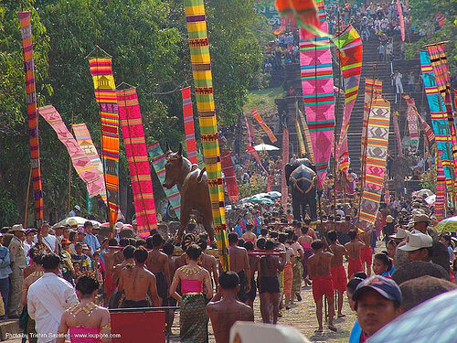 ปราสาทหินพนมรุ้ง - phanom rung festival - thailand, banners, black, black elephant, bull, carnival float, cow, elephant sculpture, elephant statue, people, procession, ประเทศไทย, ปราสาทหินพนมรุ้ง