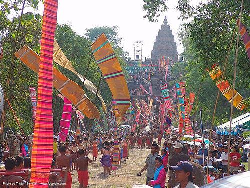 ปราสาทหินพนมรุ้ง - phanom rung festival - thailand, backlight, banners, procession, ประเทศไทย, ปราสาทหินพนมรุ้ง
