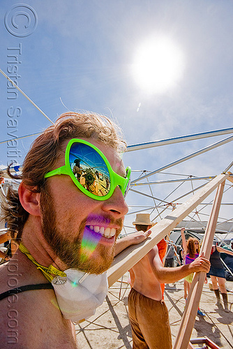 photo of guy with alien sunglasses - christopher - burning man 2009, alien sunglasses, burning man, christopher, sukkat shalom