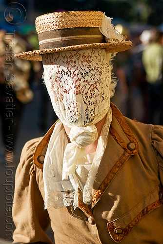 photo of man with lace mask and straw hat, costume, lace mask, man, straw hat, victorian
