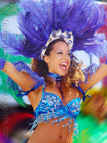 photo of woman with brazil carnival costume and feather headdress - micaela, brazilian, carnival costume, micaela, samba, san francisco carnival, woman