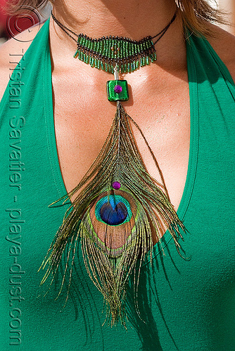 peacock feather necklace - burning man 2008, center camp, green, peacock feathers, people