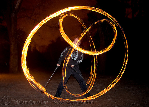 pi spinning fire poi (san francisco), circle, fire dancer, fire dancing, fire performer, fire poi, fire spinning, flames, long exposure, night, ring, spinning fire