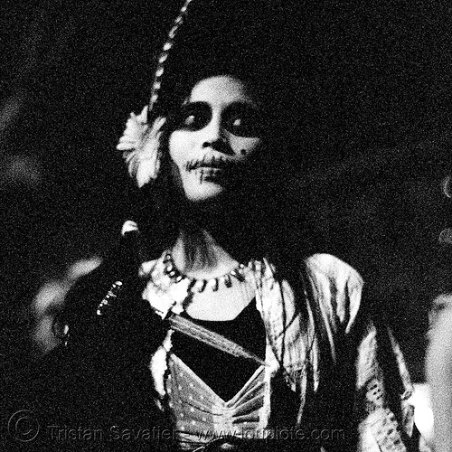 pia and dagger - dia de los muertos - halloween (san francisco), dagger, day of the dead, dia de los muertos, feathers, halloween, knife, makeup, necklace, night, p3200tmz, pia, pushed, tmax, woman