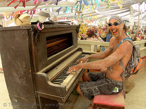 piano player - burning man 2007, burning man, center camp, fisheye, people, piano player