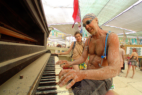piano player - burning man 2007, burning man, center camp, piano player