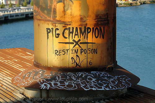 PIG CHAMPION - rest in poson, abandoned factory, derelict, graffiti, industrial, pig champion, roof, rusted, rusty, smokestack, tags, tie's warehouse, trespassing